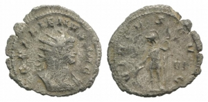 D/ Gallienus (253-268). AR Antoninianus (22mm, 2.49g, 12h). Rome, 253-4. Radiate and cuirassed bust r. R/ Virtus standing l., resting on shield and holding spear. RSC 940a. Good VF