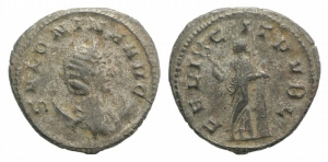 D/ Salonina (Augusta, 254-268). AR Antoninianus (24mm, 3.79g, 12h). Mediolanum (Mailand) 260-268 AD. Draped bust r., wearing stephane, set on crescent. R/ Felicitas standing l., holding cornucopia and caduceus. RIC 61, C 51. VF