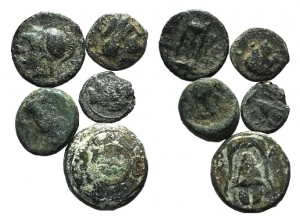 D/ Lot of 5 Greek Æ coins, to be catalog.