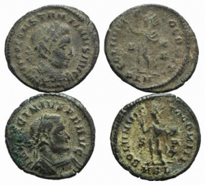 D/ Lot of 2 Late Roman Imperial Æ coins, including Constantine I and Licinius I, to be catalog.