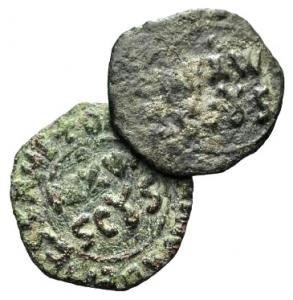 D/ Italia, Sicilia, Messina. Guglielmo II (1166-1189). Lot of 2 Æ Mezzi Follari. LOT SOLD AS IS, NO RETURNS