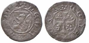 D/ DOBBIACO, Leonardo Conte di Gorizia (1454-1450) Mi Mezzo denaro 0.35 gr. MEC XII, 900 var. della più grande rarità (R5)BB