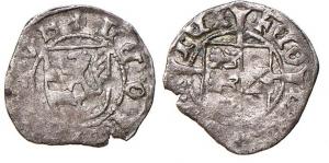 D/ GORIZIA, Leonardo (1462-1500) Quattrino mistura 0,4 gr. Paolucci 92 MEC XII, 901 rarissima BB