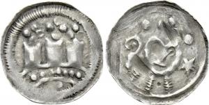 D/ AQUILEIA, Ulrico di Treffen (1161-1181) AR Denaro con torri 1.24 gr. Paolucci 4 rara BB+