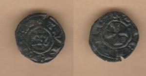 D/ MANFREDONIA, Manfredi (1258-1266) Denaro mistura 0,61 gr. MEC XIV, 613 Non comune BB