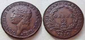 D/ NAPOLI, Gioacchino Murat (1808-1815) 2 Grana 1810 Pannuti 7 rara SPL+