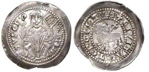 D/ TRIESTE, Arlongo de' Voitsberg (1255-1281) AR Denaro con agnello 0.97 gr. Paolucci 138 MEC XII, 951 molto rara SPL