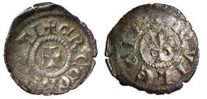 D/ AQUILEIA, Gregorio di Montelongo (1251-1269) Mi Piccolo con croce e giglio 0.35 gr. Paolucci 23 MEC XII, 843 molto rara BB+/qSPL