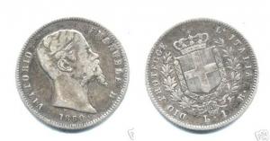 D/ BOLOGNA, Vittorio Emanuele Re Eletto (1859-1861) AR Lira 1859 Pagani 438 molto rara qBB/BB