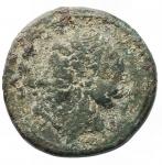 obverse: MondoGreco - Bruttium. Zecca incerta. Annibale?. 215-212 a.C.Ae. D/ Testa di Tanit-Persephone a sinistra. R/ Cavallo stante a destra. Peso gr 4,90. Diametro mm. 21,4. MB+. Patina verde.R.