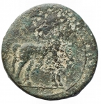 reverse: MondoGreco - Bruttium. Zecca incerta. Annibale?. 215-212 a.C.Ae. D/ Testa di Tanit-Persephone a sinistra. R/ Cavallo stante a destra. Peso gr 4,90. Diametro mm. 21,4. MB+. Patina verde.R.