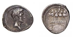 obverse: Impero Romano. Augusto.Denario 30 a.C. -14 d.C. D/ Testa di Augusto R/Arco di trionfo .Peso 3,58 gr.. BAB. 162 PAG. 67 BB+