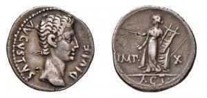 obverse: Impero Romano. Augusto. Lugdunum. 14-12 d.C. Denario. D/ AVGVSTVS DIVI F R testa a destra. R/ Apollo stante con lira e spectrum. IMP X - ACT. Peso 3,61 gr. RIC 328.BB+
