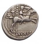 reverse: Impero Romano -Augusto. 27 a.C. - 14 d.C.Denario. Ag. 8-6 a.C.D/ AVGVSTVS DIVI F. Testa laureata a destra.R/ C. CAES / AVGVS. F (in esergo). Caio Cesare galoppa a destra. Dietro, aquila legionaria tra due stendardi.RIC 199.gr 3,68. mm18,6. Imperfezioni.BB+. R.