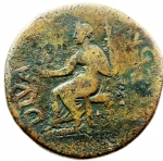 reverse: Impero Romano. Augusto 27 a.C.- 14 d.C. Dupondio. Ae. D/ Contromarca NCAPR Testa di Augusto con corona radiata verso sinistra DIVVS AVGVSTVS SC. R/ Augusto seduto verso sinistra con patera CONSENSV SENAT ET EQ ORDIN P Q R. RIC.56 ( Tiberio). Peso 14,90gr. Diametro 27,00 mm. qBB.°°