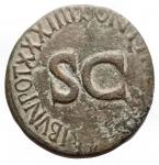 reverse: Impero Romano - Augusto.27 a.C. - 14 d.C.Asse. D/ IMPCAESAR DIVI F AVGVSTVS IMP Testa di Augusto verso sinistra. R/ SCTRIBVNIC POTEST XXXIIII PONTIF MAXIM. RIC.471.Peso 10,1 gr. Diametro 26,8 mm. qBB.R.