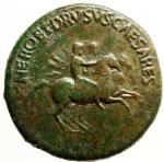 D/ Impero Romano. Nerone e Druso Cesari, figli di Germanico e Agrippina madre. Dupondio, 37-38. D/ NERO ET DRVSVS CAESARES. Nerone e Druso su cavalli scalpitanti a destra. R/ C CAESAR AVG GERMANICVS PON M TR POT intorno a grande SC. RIC (Cal.) 34. gr. 16,25 AE.BB+. Nerone e Druso morirono rispettivamente nel 31 e nel 33 d.C. L'emissione è dovuta al fratello Caligola.R.