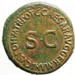 R/ Impero Romano. Nerone e Druso Cesari, figli di Germanico e Agrippina madre. Dupondio, 37-38. D/ NERO ET DRVSVS CAESARES. Nerone e Druso su cavalli scalpitanti a destra. R/ C CAESAR AVG GERMANICVS PON M TR POT intorno a grande SC. RIC (Cal.) 34. gr. 16,25 AE.BB+. Nerone e Druso morirono rispettivamente nel 31 e nel 33 d.C. L'emissione è dovuta al fratello Caligola.R.