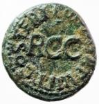 reverse: Impero Romano. Caligola. 37-41 d.C. Quadrante. AE. D/ SC. Pileo. Legenda nel giro. R/ RCC. Legenda nel giro. Cfr. RIC 45. Peso gr.3,55. qSPL.w