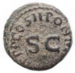 reverse: Impero Romano - Claudio. 41-54 d.C.Quadrante. D/ TI CLAVDIVS CAESAR AVG Mano che tiene una bilancia, tra i piatti PNR. R/ PON M R P IMP PP COS II intorno ad SC. Peso 2,71 g. Ric. 91.BB.