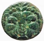 obverse: Mondo Greco. Bruttium. Rhegium. 351-280 a.C. Obolo. AE. D/ Testa di leone di fronte. R/ PHΓINΩΝ. Testa laureata di Apollo a sinistra. HNI (Italy) 2534 (b). Peso 6,45 gr. Diametro 20,00 mm. BB\MB.