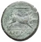 reverse: Mondo Greco - Apulia. Arpi.ca 325-250 a.C.Ae. D/ testa di Zeus a sinistra. R/ Cinghiale a destra, sopra lancia.HN Italy 642.Pesogr 8,88. Diametro mm 21,83. BB-qSPL/ BB+. Bella patina verde.