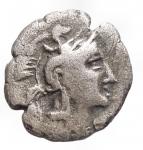 obverse: Mondo Greco -Lucania, Heraclea.370-281 a.C.Diobolo Ag.D/ Testa di Athena a destra, che indossa elmo attico sormontato da Scilla.R/ Eracle inginocchiato a destra combatte contro il leone di Nemea.gr 1,16. mm 12,2. qBB