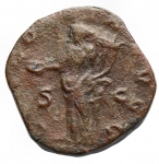 R/ Impero Romano - Volusiano 251-253. Sesterzio Ae. d/ Busto a ds r/ Concordia stante volta a sn con patera e doppia cornucopia. gr 14,51. mm 24,3 x 25,8. RIC 249a. BB