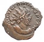 D/ Impero Romano - Vittorino. 265-267 d.C.D/ IMP C VICTORINUS PF AVG Busto radiato verso destra. R/ SALVS AVG La Salus verso sinistra.Peso 3,79 gr. Diametro 18,4 x 20,1 mm.qSPL. Alto peso, bel ritratto, patina marrone verde