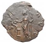 R/ Impero Romano - Vittorino. 265-267 d.C.D/ IMP C VICTORINUS PF AVG Busto radiato verso destra. R/ SALVS AVG La Salus verso sinistra.Peso 3,79 gr. Diametro 18,4 x 20,1 mm.qSPL. Alto peso, bel ritratto, patina marrone verde
