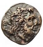 obverse: Mondo Greco - Lucania. Metaponto. ca 300-250 a.C.Ae. D/ Testa di Dioniso ? a destra. R/ META Spiga Torcia. Peso gr. 2,17. Diametro mm. 13,7 x 14,6. R.