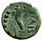 reverse: Mondo Greco. Lucania Poseidonia Paestum. Triente. 218-201 a.C. D/ Testa di Dioniso verso destra, a sinistra quattro globetti. R/ Caduceo e cornucopia PAIS, .a sinistra quattro globetti. Peso 3,16 g. Diametro 17,00 mm. ANS 736. BB+. Patina verde.