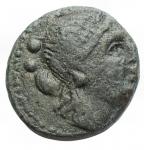 obverse: Mondo Greco - Lucania. Paestum. II° guerra punica (218-201 a.C.)Sestante.D/ Testa laureata di Ceres a destra. R/ Cane che corre a destra , sopra PAIS. g 2,90. AE.Rutter HN 1211. BB++.Bella patina verde.