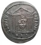 R/ Impero Romano -Massenzio (306-312).Follis, Roma.D/ IMP C MAXENTIVS PF AVG. Testa laureata a destra.R/ CONSERV VRB SVAE. Facciata di tempio esastilo, il cui frontone è decorato con corona. Al suo interno, Roma seduta a sinistra, tiene globo.AE.g 5,78.mm 24,3 x 26,9.BB