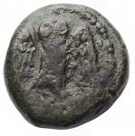 obverse: Mondo Greco -Lucania. Velia.IV-II secolo a.C.AED/ Testa di Zeus a sinistra.R/ Civetta con le ali aperte stante a destra, con la testa di fronte. g 3,17.13,6 x 14,3 mm.qBB.Patina verde