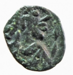 D/ Barbari. Vandali. Guntamundo. 484-496 d.C. Nummo. D/ Busto di Guntamundo verso destra. R/ Lettera D in ghirlanda. Arslan 2. Peso 0,55 gr. Diametro 9,82 mm. BB\MB. RR.