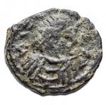 D/ Barbari - Vandali. Hilderic. 523-530. Æ. 2 1/2 Nummi. Carthago. 0,61 g. d/ Busto drappeggiato a ds con testa diademata r/ Croce entro corona. MIB 21. BB-SPL. Patina verde