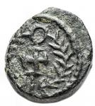 R/ Barbari - Vandali. Hilderic. 523-530. Æ. 2 1/2 Nummi. Carthago. 0,61 g. d/ Busto drappeggiato a ds con testa diademata r/ Croce entro corona. MIB 21. BB-SPL. Patina verde