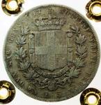 R/ Casa Savoia .Regno di Sardegna. Vittorio Emanuele II (1849-1861). 5 lire 1859 Genova. Pag. 387. R. AG. Periziata Moruzzi qBB.s.v