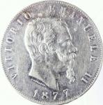 D/ Casa Savoia. Vittorio Emanuele II. 5 Lire 1877 Roma. Ag. BB+. R.dg