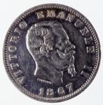 D/ Casa Savoia. Vittorio Emanuele II. 1867 1 Lira. Peso 5,00gr. Diametro 23 mm. Milano. BB.dg