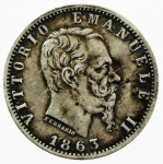 D/ Casa Savoia. Vittorio Emanuele II. 20 centesimi 1863 Torino. Pagani 536. Ag. BB.sv