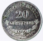 R/ Casa Savoia. Vittorio Emanuele II. 20 Centesimi 1863. Ag. Milano. Peso 1,00 g. Diametro 16 mm. Pagani 86. SPL\qSPL.dg