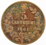 R/ Casa Savoia. Vittorio Emanuele II. 5 Centesimi 1861 Bologna. Rame. Pagani 551. MB. R.  sv