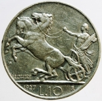D/ Casa Savoia. Vittorio Emanuele III. 10 lire 1927 Biga. Due rosette. SPL