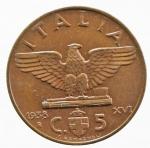 D/ Casa Savoia. Vittorio Emanuele III. 1900-1943. 5 Centesimi 1938 Impero. Peso 3,24 gr. Diametro 19,45 mm. SPL+.