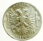 D/ Casa Savoia. Vittorio Emanuele III. Albania. 1939-1943. 5 lek 1939 A. XVII. AG. SPL. ex Tintinna 73 lotto 567 aggiudicata a non pagata