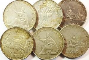obverse: Repubblica Italiana. Lotto di 6 Monete da 500 lire in Ag. Circolate.s.v.