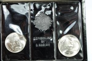 obverse: San Marino. Dittico 1982  Giuseppe Garibaldi : 1 000 lire e 500 lire. AG. Fondo specchio.