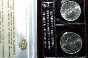 obverse: Zecche Italiane. San Marino. Nuova monetazione. 1985 Dittico. Celebrazioni dei 300 anni dalla nascita di J.S.Bach. FS